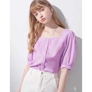 Pazzo 清新澎澎短袖襯衫 粉紫