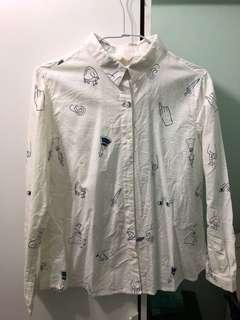 森林系白襯衫