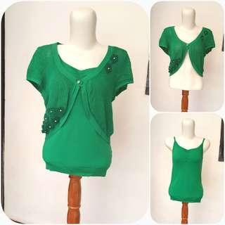 Blouse Outer Tanktop Hijau / Blouse hijau / Outer hijau / Cardigan hijau / Tanktop hijau / Baju casual / Baju kuliah/ Baju hijau / Baju rajut