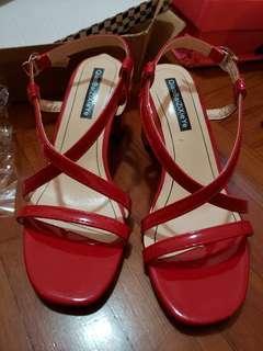 紅色漆皮涼鞋