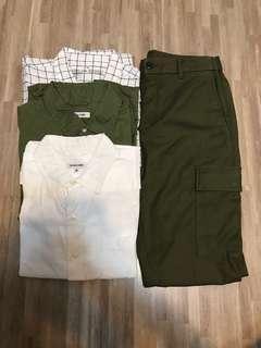 [$200四件] Global Work & Muji 裇衫 & Global Work Pants 軍褲