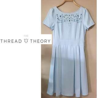 ✨BN THE THREAD THEORY Sleeved Cut Out Pleated Dress in Light Baby Blue, Size M Fits Size S/M to UK 8/10