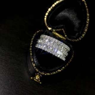 超豪華💎1卡雙層梯方鑽石戒指💍晚宴 生日禮物 紀念日 情人節 母親節