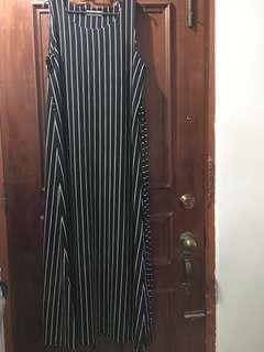 Peniwern black stripes sleevless long dress