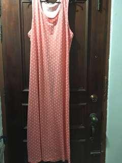 Pink/peach polka dots sleeveless long dress