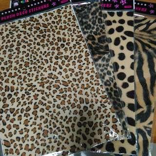 4款 豹紋 長頸鹿 老虎紋 絨毛面貼紙 裝飾貼紙