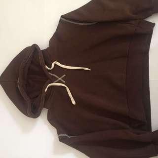 Korean cropped brown hoodie