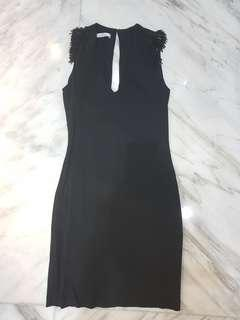 Beaded Shoulder Black Dress