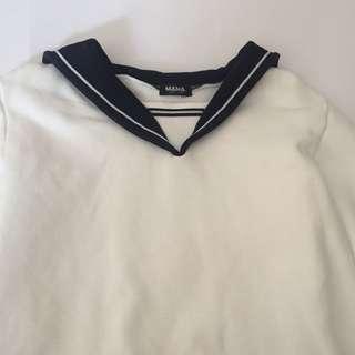 Korean sailor style fleece top