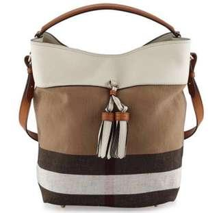 Burberry Ashby Medium Grainy Canvas Check Bucket Bag White