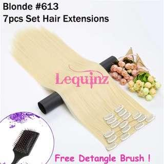 Hair Extensions Clip On 7 Pieces Set Straight 60cm Blonde 613
