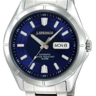 ⌚2pc JSPRING Japanese Automatic Movement Watch Blue+Black Dial⌚
