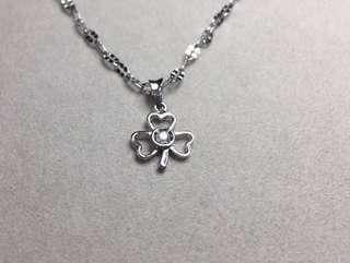 京和珠寶工坊-925純銀 3分天然鑽石3葉草墜鍊