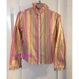 ~小小牛瑪奇朵~日本小店帶回粉色直條紋花苞領襯衫