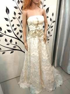 White Fish Scale Wedding Dress