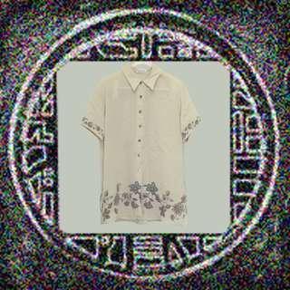 土色襯衫/簡單花樣/大方/小透/小性感