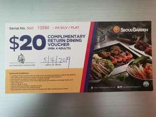 Seoul Garden voucher ($35 worth)