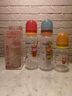 Brand new unused assorted milk bottles