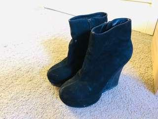 Black Suede leather Wedges in size 35