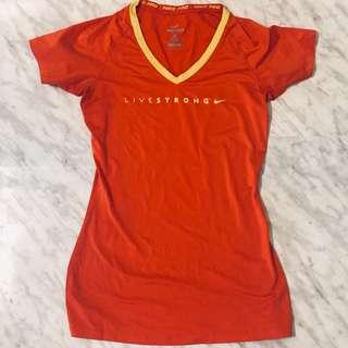 NIKE PRO - LiveStrong Fitted T-Shirt - Size Small - Red - Workout Shirt