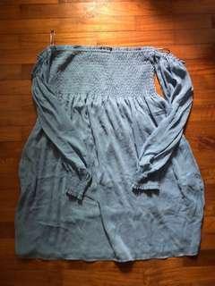 ZARA Basic Off Shoulder Baby Blue Flowy Dress