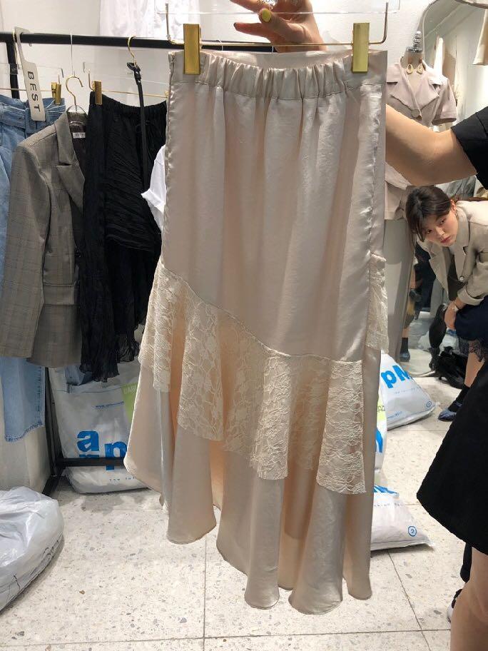 韓國2019夏季不規則Lace拼接裙