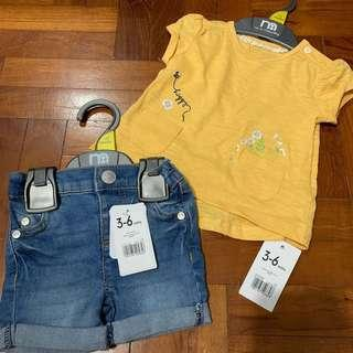 🚚 3-6mths tee and shorts