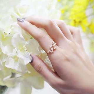 Rose gold leaf ring adjustable all size