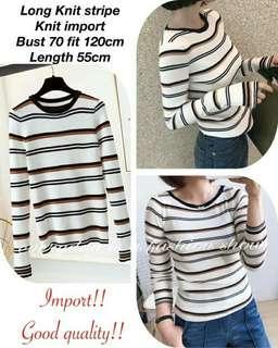 Long knit stripe import