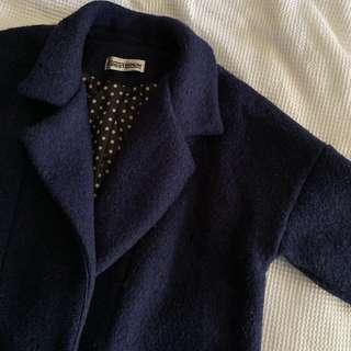 Thick & warm wool blended navy cocoon coat with polka dot lining