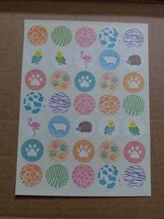 """Masking MARU seal / Round Masking Tape Sticker """"Animal"""""""