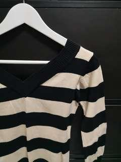 #EndgameYourExcess  V-neck Knitted Top in Beige/Black Stripes