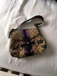 Gucci Horsebit Tom Ford Limited Edition Leather Monogram Satin Stripe Brown/Purple/Black Canvas Shoulder Bag