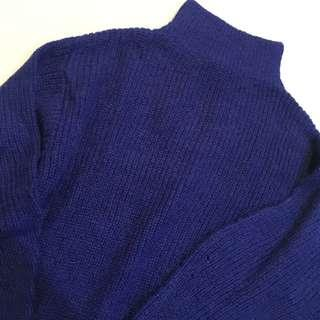 H&M寶藍色高領針織寬鬆砰袖長版毛衣洋裝