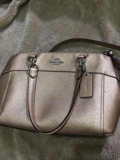Coach Metallic Crossgrain Mini Brooke Rosegold authentic