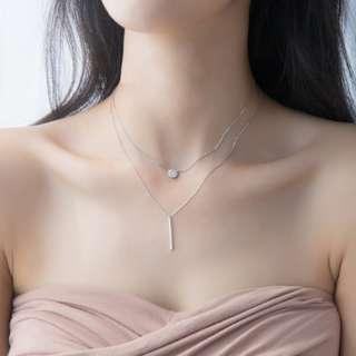 🚚 Layered studded necklace - Korean - Minimalist - S925 - Sterling Silver