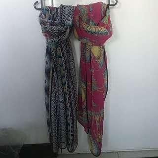 2 Pieces Crinkle Printed Shawl