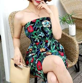 floral print strapless tube holiday chiffon dress