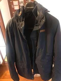深藍色衝鋒保暖兩件頭外套