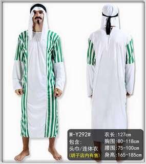 阿拉伯民族服飾男裝 印度包頭巾白色綠色半透明輕薄Arabic cosplay culture clothes