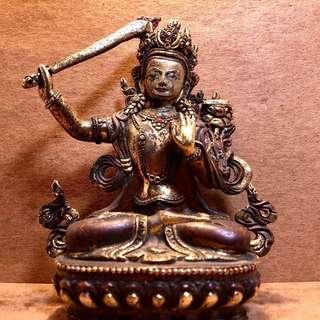 古早年 紅銅鎏金 文殊師利菩薩(非賣品)