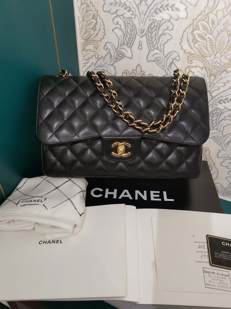 ddf563f250db ❌ RESERVED ❌ 21 Almost New Chanel Jumbo Classic Double Flap Black ...