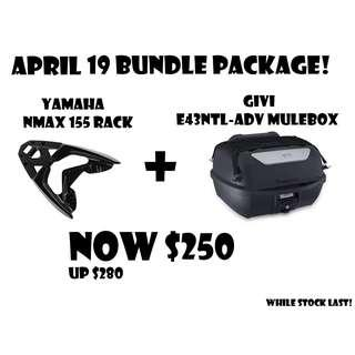 April Promotion for Yamaha Nmax 155 Rack + Givi E43