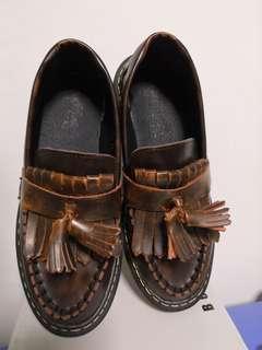 🚚 Brown Leather Oxfords Tassel Shoes Platform 3cm Height