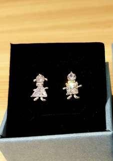 925純銀防敏鋯石幸運雙胞胎耳環,女+子=好