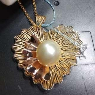 Natural south sea pendant with 14k gold design
