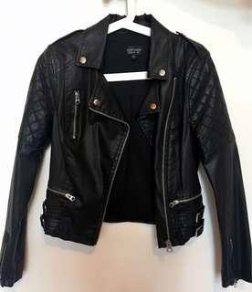 100% real Topshop黑色仿皮褸 (二手) Black Faux Leather Jacket