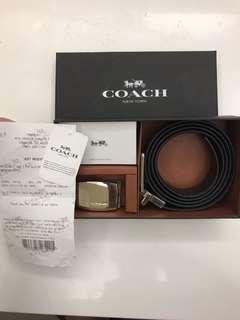 🚚 COACH 可裁剪寬版飾牌雙面皮帶禮盒 (現貨一個)