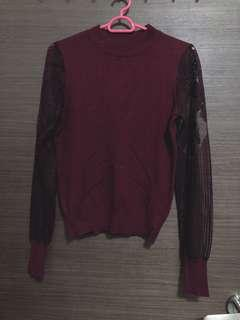 🚚 Maroon lace pullover