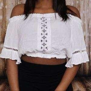 H&M Off Shoulder White Crop Top Lace